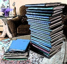 A picture of my hand written journals.